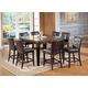 Acme Danville 7-pc Marble Top Square Counter Height Dining Table Set in Espresso
