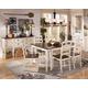 Whitesburg 7-Piece Rectangular Extension Dining Table Set in Brown - White