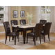 Acme Justin White Faux Marble Top Dining Table Set in Espresso