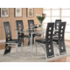 Coaster Los Feliz Dining Set in Silver w/ Black Chairs