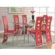 Coaster Los Feliz Dining Set in Silver w/ Red Chairs
