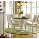 Universal Furniture Summer Hill 5PC Round Single Pedestal Dining Set w/ Woven Accent Side Chairs in Cotton