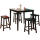 Coaster Yates 5 Piece Counter Height Dining Set in Black 150291N