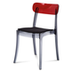Domitalia New Retro Clear Chair in Smoke/Red (Set of 4)