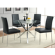 Coaster Vance Glass-Top w/ Chrome Base Dining Set w/ Black Chairs