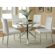 Coaster Vance Glass-Top w/ Chrome Base Dining Set w/ White Chairs