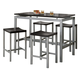 Coaster Atlas 5 Piece Counter Height Dining Set in Black and Silver 150095