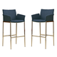 Coaster Linen Fabric Bar Stool in Navy (Set of 2) 120725
