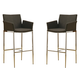 Coaster Linen Fabric Bar Stool in Coffee (Set of 2) 120726