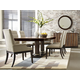 American Drew Miramar 7pc Pedestal Dining Table Set w/Upholstered Chairs in Auburn