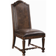 Bernhardt Normandie Manor Leather Upholstered Side Chair with Turned Stretchers in Caffe Brown (Set of 2) 317-541