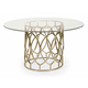 Bernhardt Salon Round Dining Table with Glass Top in Antique Gold 341-773G-773