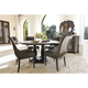 Bernhardt Belgian Oak 5pc Round Dining Room Set with Sleigh Back Dining Chairs in French Truffle
