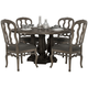 Bernhardt Belgian Oak 5pc Round Dining Room Set with Wooden Side Chairs in French Truffle