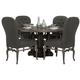 Bernhardt Belgian Oak 5pc Round Dining Room Set with Button Tufted Upholstered Chairs in French Truffle