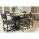 Bernhardt Belgian Oak 7pc Pub Height Dining Room Set with Upholstered Counter Stools in French Truffle
