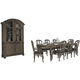 Bernhardt Belgian Oak 9pc Rectangular Extendable Dining Room Set with Wooden Dining Chairs in French Truffle