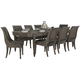 Bernhardt Belgian Oak 9pc Rectangular Extendable Dining Room Set with Sleigh Back Dining Chairs in French Truffle