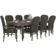 Bernhardt Belgian Oak 9pc Rectangular Extendable Dining Room Set with Button Tufted Upholstered Chairs in French Truffle