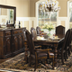 Bernhardt Normandie Manor 9pc Rectangular Dining Room Set with Leather Upholstered Dining Chairs in Bark