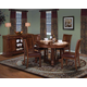 New Classic Sheridan 5-Piece Round Dining Table Set in Burnished Cherry