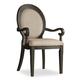 Hooker Furniture Corsica Upholstered Oval Back Arm Chair in Antiqued Espresso 5280-75402