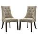 Mestler Button Tufted Side Chair in Light Brown (Set of 2) D540-202