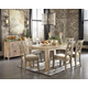 Mestler 7pc Rectangular Textured Dining Set in Bisque