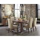 Mestler 7pc Rectangular Dining Set in Dark Brown with Button Tufted Chairs