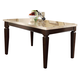 Acme Agatha White Marble Top Rectangular Dining Table  in Espresso 70480