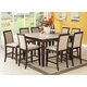 Acme Agatha 9PC White Marble Top Counter Height Dining Room Set in Espresso