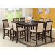 Acme Agatha 9PC Black Marble Top Counter Height Dining Room Set in Espresso