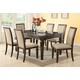 Acme Agatha 7PC Black Marble Top Rectangular Dining Room Set in Espresso