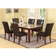Acme Earline 7PC White Marble Top Dining Room Set with Brown Insert in Walnut