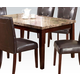Acme Granada Brown Marble Top Dining Table in Walnut 17042