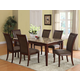 Acme Granada 7PC Brown Marble Top Rectangular Dining Room Set in Walnut