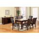 Acme Granada 7PC Granada Brown Marble Top Dining Room Set in Walnut