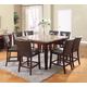 Acme Granada 9PC Granada Brown Marble Top Counter Height Dining Room Set in Walnut