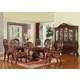 Acme Quinlan 7PC Oval-Shaped Double Pedestal Dining Room Set in Cherry