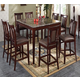 Acme Camelot 9PC Black Marble Top Counter Height Dining Room Set in Espresso
