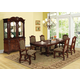 Acme Amaryllis 7PC Double Pedestal Dining Room Set with Rich Leg Carvings in Cherry