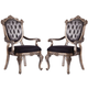 Acme Chantelle Button Tufted Back Seat Dining Arm Chair (Set of 2) in Antique Platinum 60543  PROMO