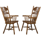 Coaster Brooks Arm Chair with Turned Spindles in Oak (Set of 2) 104273