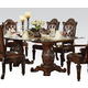 Acme Vendome Double Pedestal Dining Table with Glass Table Top in Cherry 62005