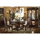 Acme Vendome 5PC Single Pedestal Dining Room Set with Tempered Glass Top in Cherry