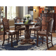 Acme Vendome 5PC Round Counter Height Dining Room Set with Beveled Glass Top in Cherry