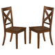 Coaster Lawson Dining X-Back Side Chair in Rustic Oak (Set of 2) 103992