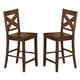 Coaster Lawson X-Back Bar Stool in Rustic Oak (Set of 2) 104189
