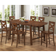 Coaster Lawson 7-pc Counter Height Dining Table Set in Rustic Oak