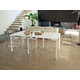 Domitalia Mondo 9pc Console/Dining Extension Table Set w/ New Retro Clear Chairs in Transparent